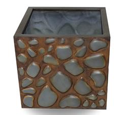 fiber saksı taş desenli