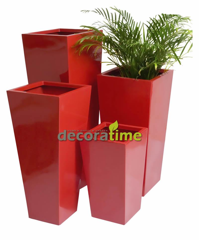 fiberglass saksı kırmızı set